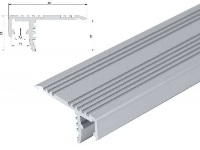 T-LED Hliníkový profil schodišťový ST 2m pro LED pásky, eloxovaný stříbrný